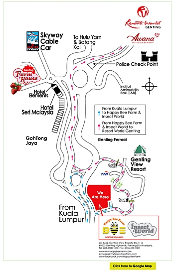 Map to Happy Bee Farm and Insect World and Strawberry Leisure Farm