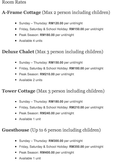 Nipah Guesthouse Room Rates